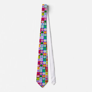 Multicolored Smiley Squares Tie