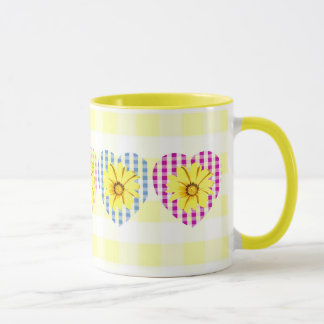 Multicolors Gingham Hearts and Flowers Mug