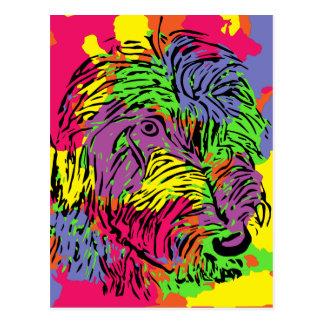Multicoloured dog postcard