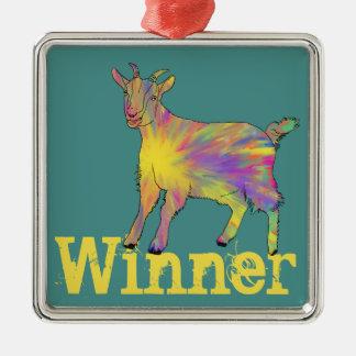 Multicoloured Funny Artsy Goat Animal Art Design Christmas Ornament