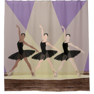 Multicultural Ballerinas on Stage Shower Curtain
