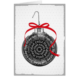 Multilingual Christmas Ornament Typography Card