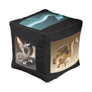 Multiple Dragons 1 Cube Pouf