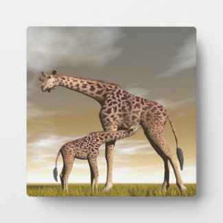 Mum and baby giraffe - 3D render Plaque