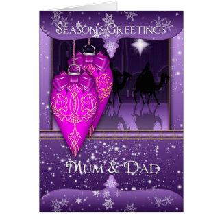 mum and dad, season's greetings holiday card in pu