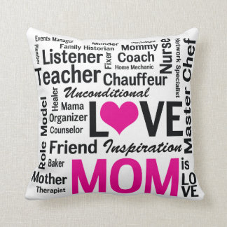 Mum is Love Pink and Black Mother's Day Throw Cushions