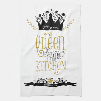 Mum - Queen of the Kitchen | Gold Glitter Tea Towel