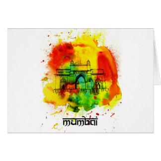 mumbai gateway of india bright watercolors card