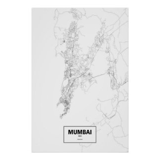Mumbai, India (black on white) Poster