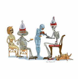 Mummific Skeleton Dinner Standing Photo Sculpture
