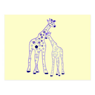 mummy and baby giraffe postcards