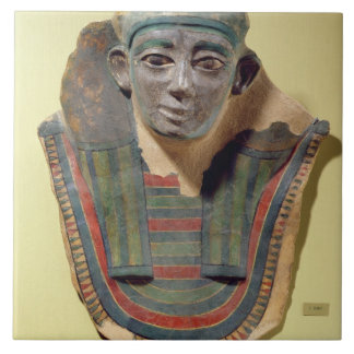 Mummy mask, from Mirgissa (stuccoed and painted pl Tile