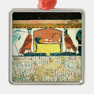 Mummy on a funeral bed with various divinities christmas ornament