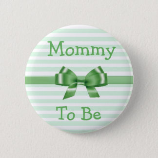 Mummy to be Green & White  Bow  baby shower button