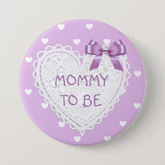Mummy to be purple hearts Baby Shower Button