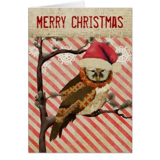 Mums Owl Striped Christmas Card