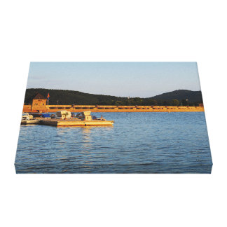 Mural Edersee concrete dam in the evening Canvas Print
