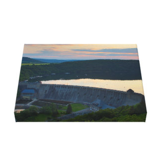 Mural Edersee concrete dam sunset Canvas Print