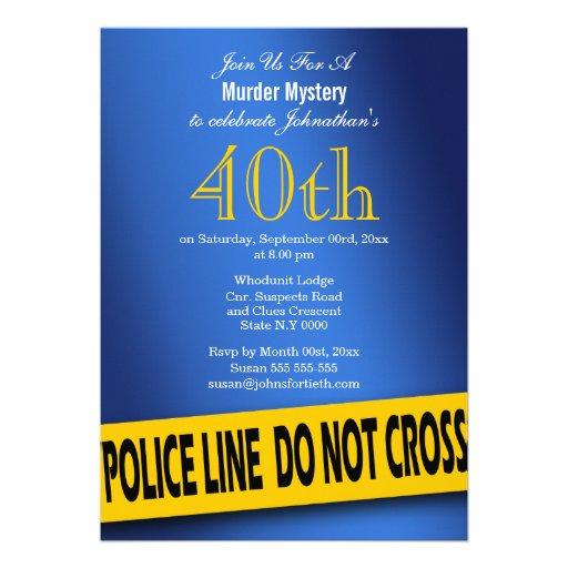 Murder mystery blue birthday invitation