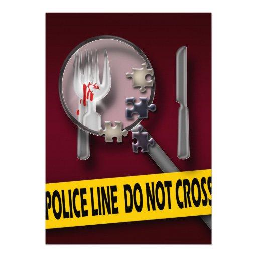 Murder mystery burgundy crime birthday invite