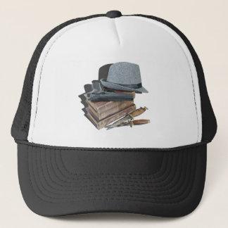 MurderMysteryBooksGunKnivesFedora042113.png Trucker Hat