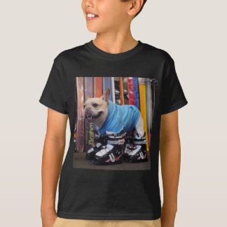 Murray the Frenchie in Ski Boots T-Shirt