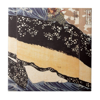 Musashi on the back of a whale by Utagawa Kuniyosh Small Square Tile