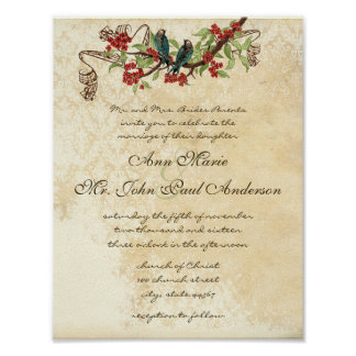 Muscial Vintage Teal Bird Red Bloom Wedding Invite Poster