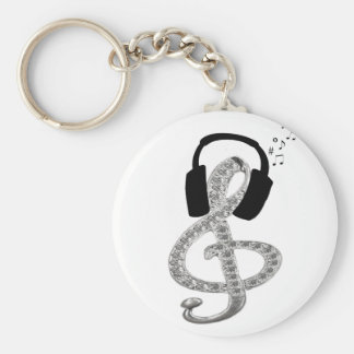 Music Gclef with headset Key Ring