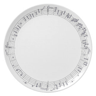 Music going in a circle: Musical notes Plate