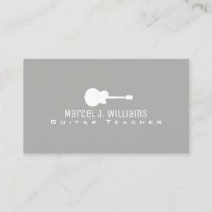 Guitar teachers business cards zazzle nz music guitar teacher prof grey business card reheart Image collections