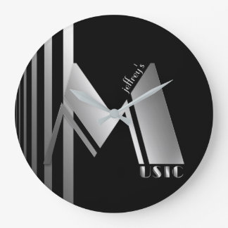 Music in Jazzy Art Deco Silver Large Clock