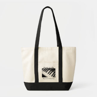 Music is Life Black and White Tote Impulse Tote Bag