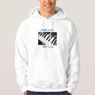 Music is Life Hoodie Sweatshirt White