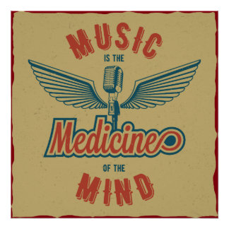 Music is the Medicine Retro Vintage Wallart Poster