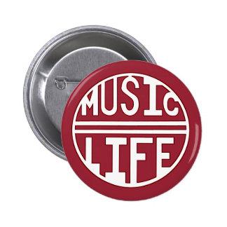 music = life red 6 cm round badge
