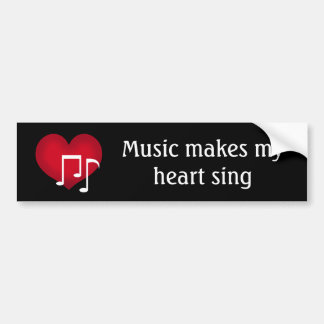 Music makes my heart sing red heart on black bumper sticker