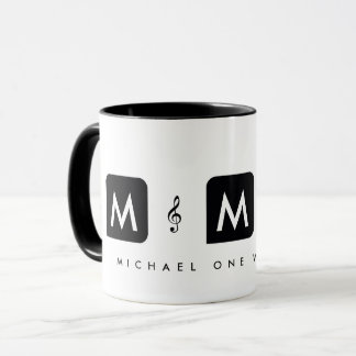 music mug for musicians with treble clefs