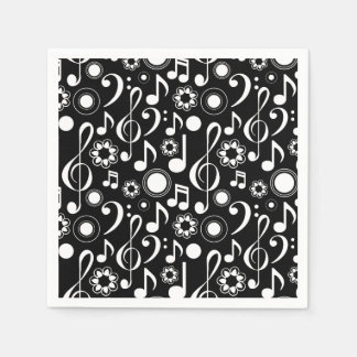 Music Notes and Clefs - White on Black Disposable Serviette