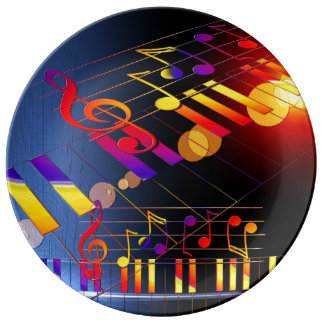 Music notes colorful illustration plate