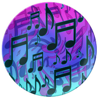 Music Notes Dreamy Swirly Musical Pattern Plate