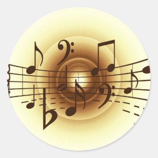 Music notes illustration round sticker