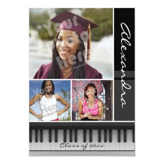 "Music Piano Keys, Photo Graduation 5"" X 7"" Invitation Card"