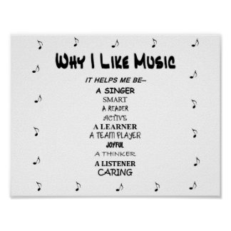"""Music Poster """"Why I Like Music"""" Fun Lettering"""