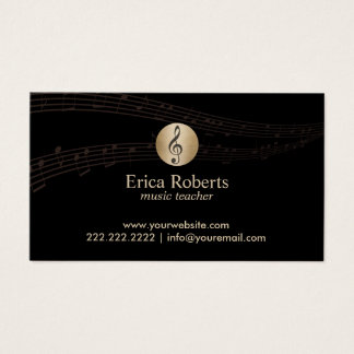 Music Teacher Gold Clef Logo Elegant Musical Business Card