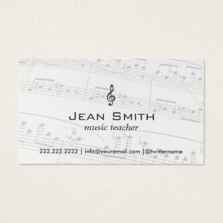 Music Teacher Music Notes Elegant Business Card