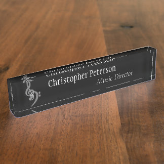 Music - Treble and Bass Clef Desk Nameplates
