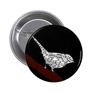 Musical Bird 6 Cm Round Badge