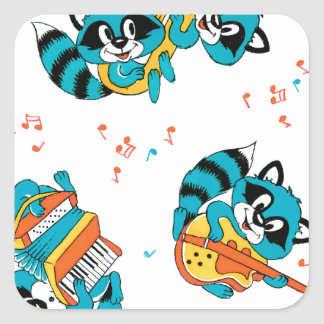 Musical Blue Racoons Square Sticker