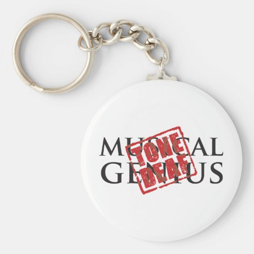Musical genius: tone deaf rubber stamp key chain